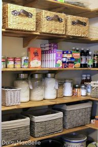 Pantry Makeover @ DaisyMaeBelle Love this pantry. And the best part is that she waxed the wood. No polyurethane needed! And no more wire shelves where everything tips over.