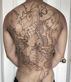 Asian Tattoos, Back Tattoos, Body Art Tattoos, Tribal Tattoos, Carp Tattoo, Koi Fish Tattoo, I Tattoo, Japanese Tattoo Designs, Japanese Tattoo Art