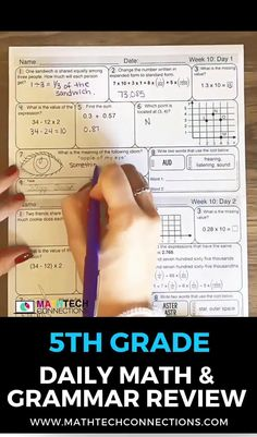 Download the free spiral review sample. Spiral review all 5th grade math standards with this math bundle. The daily math worksheets include math, grammar, and cursive practice. Use da 5 as a weekly math quiz.   #math #spiralreview #mathreview #mathhomework #mathworksheets #mathpractice #5thgrade #5thgrademath Math Worksheets, Math Activities, Spiral Math, Curriculum Mapping, Fifth Grade Math, Daily Math, Writing Numbers, Math Practices, Math Workshop