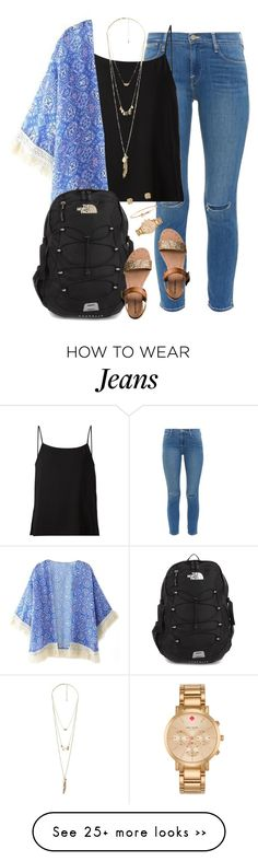 """""""what I wore to school today!✌️"""" by kaley-ii on Polyvore featuring Frame Denim, Helmut Lang, Charlotte Russe, The North Face, Mossimo Supply Co. and Kate Spade"""