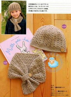 Crochet scarf and hat w/ diagram. Quick now someone teach me to crochet! Bonnet Crochet, Crochet Cap, Crochet Girls, Crochet Baby Hats, Crochet Beanie, Cute Crochet, Crochet Scarves, Crochet For Kids, Crochet Crafts