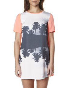 SURFSTITCH - WOMENS - DRESSES - CASUAL DRESSES - FINDERS KEEPERS YOU SENT ME TSHIRT DRESS - PARADISE BEACH MONOCHROME SHERBERT