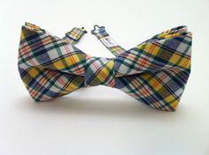 Mens Plaid Bow Tie Yellow Blue Green Plaid Bow Tie Kids by Ruells