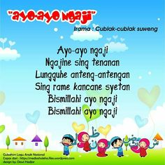Ayo-ayo Ngaji (original Cublak Cublak Suweng - East Java theme song) Islam For Kids, Kids Songs, Vocabulary Words, Proposals, Theme Song, Java, Islamic, Education, Songs For Children