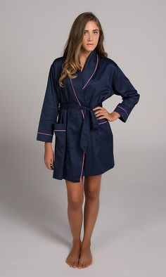 Navy With Pink Sateen Robe