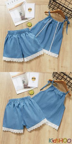 Kid Girls Hollow Out Vest and Denim Lace Shorts Two-Piece Outfit - Girl Sets - Hollow Out Vest, Denim Lace Shorts, Denim Shorts, Lace Two-Piece Outfit - Girls Frock Design, Kids Frocks Design, Baby Frocks Designs, Baby Dress Design, Kids Dress Wear, Little Girl Outfits, Toddler Girl Dresses, Kids Outfits, Baby Outfits