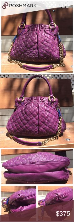 """✅OFFERS Marc Jacobs Purple Stardust Cecilia Stam This is the most gorgeous shade of purple! Approximately 15""""W x 12""""H x 4""""D with a 5.5"""" handle drop and 13.5"""" strap drop. Top zip closure with interior zip pocket, slip pocket, and key ring. Gently used. There are a few small scuffs and slight rubbing on the top, but no major flaws. The interior lining is clean but faded, which is common for the Stardust line. Marc Jacobs Bags Shoulder Bags"""