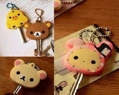 San-X Rilakkuma Relax Bear Keychain Key Met Protective*1ea (Four colors)