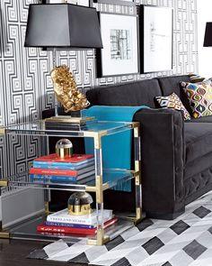 Jonathan Adler Jacques Acrylic & Brass Two-Tier Table Jonathan Adler, Living Room Furniture, Living Room Decor, Furniture Ads, Plywood Furniture, Modern Furniture, Living Rooms, Furniture Design, Bedroom Decor
