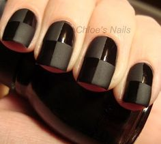 Black on black nail art design..