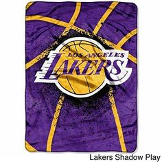 NBA Los Angeles Lakers Throw Blanket 80x60 Gold Purple Black White Sports & Collegiate Pattern Polyester Soft Touch Team Logo Sports Themed Perfect