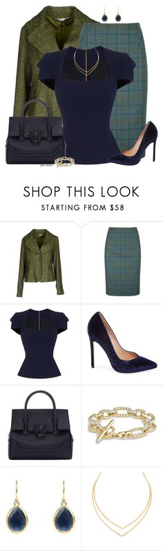 """""""Tweed for work."""" by an-nao ❤ liked on Polyvore featuring LIU•JO, DUBARRY, Roland Mouret, Steve Madden, Versace, David Yurman and Lana"""
