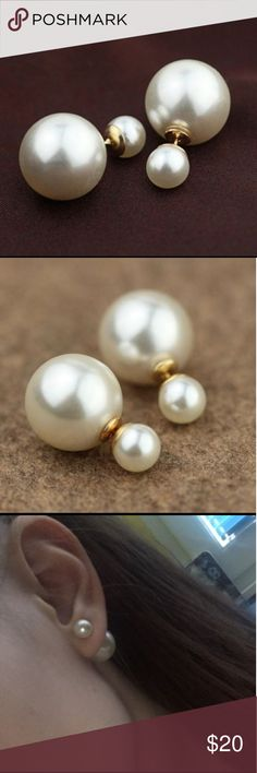 Double Sided Big Pearl Earrings Size 8mm/16mm Material Content: Zinc Alloy Made In - Imported Jewelry Earrings