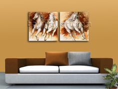 Beautiful 2-panel Giclee high-resolution canvas print with horse in contemporary style. It is available in numerous sizes to fit any size room!