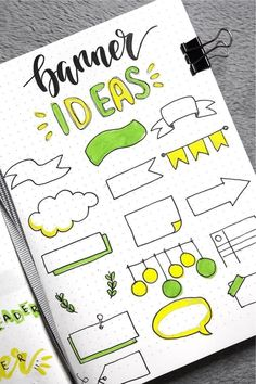 Check out these super cute bullet journal bbanner doodle ideas for inspiration! Bullet Journal School, Bullet Journal Inspo, Bullet Journal Paper, Bullet Journal Notebook, Bullet Journal Aesthetic, Bullet Journal Ideas Pages, Book Journal, Journals, Journal Fonts