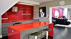 Cardinal Red Design Ideas, Pictures, Remodel and Decor Cute Kitchen, Kitchen Decor, Beautiful Kitchens, Cool Kitchens, Moderne Lofts, Burgundy Room, Best Kitchen Colors, Latest Kitchen Designs, Kitchen Trends