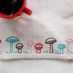 Cuteness is sprouting up everywhere with the Mushroom Row Iron-On Embroidery Pattern Kit. The kit includes an iron-on mushroom row pattern, an assortment of DMC embroidery thread, an embroidery hoop, a needle, and easy to follow instructions.