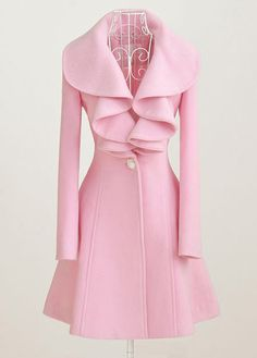 Elegant Pink Turndown Collar Button Fly Long Coat