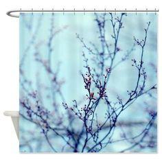 Blue Shower Curtain Tree Branch Photo Aqua Lavender Purple Art Bath Decor Nature Fabric