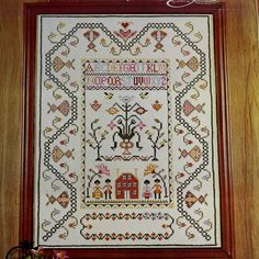 FRIENDSHIP SAMPLER Vtg Stamped Cross Stitch Kit Linen Colonial Museum Sampler by NeedleLittleTherapy on Etsy Crewel Embroidery Kits, Embroidery Thread, Cross Stitch Embroidery, Cross Stitch Samplers, Cross Stitch Kits, Linen Pillows, Linen Fabric, Vintage Cross Stitches, Vintage Stamps