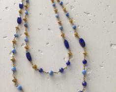Blue beaded Necklace by TheEmilyJaneCo on Etsy