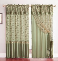 Amazon.com   All In One Sage Green Window Curtain Drapery Panel:
