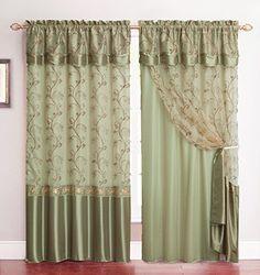 Amazon.com   All In One Sage Green Window Curtain Drapery Panel: