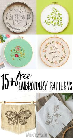 Hand Embroidery For Beginners Looking for a free embroidery pattern to try hand stitching? I have rounded up over 15 free embroidery patterns with all kinds of fun motifs. Hand sewing is so relaxing! Hand Embroidery Patterns Free, Hand Embroidery Stitches, Learn Embroidery, Embroidery For Beginners, Vintage Embroidery, Embroidery Techniques, Cross Stitch Embroidery, Hand Stitching, Machine Embroidery