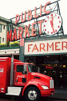 Coca Cola truck at Pike Place Market - Seattle, WA Places Around The World, Oh The Places You'll Go, Places To Travel, Places Ive Been, Places To Visit, Around The Worlds, Seattle Washington, Washington State, Coca Cola