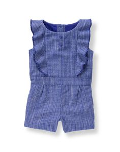 Charming bouclé romper is perfect for an effortless spring look. Pieced ruffles, button accents and short pleats sweeten the design. Spring Looks, Girls Rompers, Janie And Jack, Ruffles, Girl Outfits, Button, How To Make, Blue, Clothes