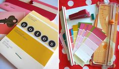 Folding Trees shares a link to Whimsy Love's step-by-step tutorial for making these colorful mini-notebooks made from paint chip samples. (Warning: Whimsy