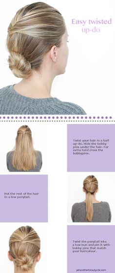 Easy Twisted Updo Click here to see more hair tutorials!