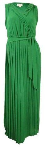 Jessica Simpson Women's Belted V-Neck Pleated Chiffon Maxi Dress (14, Green)