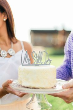 """Too cute: """"We Still Do"""" cake topper for your one year anniversary!   Photo by Hay Alexandra Photography"""