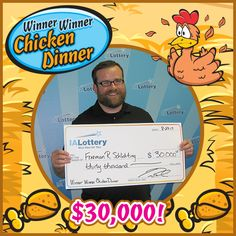 We have our very first Winner Winner Chicken Dinner top prize winner! Meet Freeman Schlichting from #Vinton. He purchased the ticket at the Travel Plaza, 696 Grain Lane in #CenterPoint because it was a new game. The third ticket he bought in the game and scratched was his big $30,000 winner! He won the first of eight top prizes available in the game which debuted at lottery retailers just yesterday! Congrats and #WooHooForYou