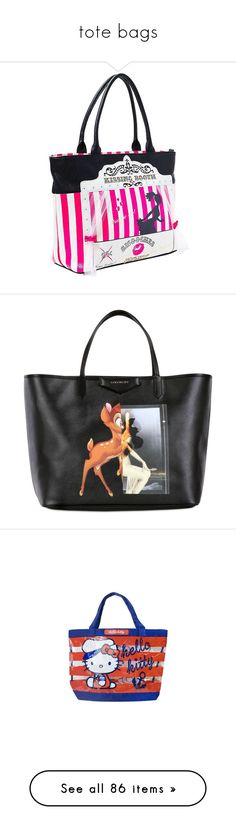 """""""tote bags"""" by thesassystewart on Polyvore featuring bags, handbags, tote bags, betsey johnson handbags, tote handbags, white handbags, white tote bag, tote bag purse, black and coated canvas tote bags"""