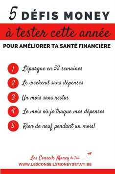 5 défis money - argent - à tester cette année pour améliorer ta santé financière - www.lesconseilsmoneydetati.be Saving Tips, Budgeting, Blog, Challenges, Money, Business, Plans, Images, Bullet Journal