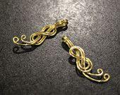 Brass Double 8 Knot Swirl Charms - handmade - 1 pair - 9 x 30mm