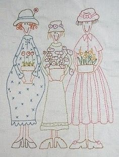 Cat Patches: Garden Party quilt - last embroidered block! Hand Embroidery Patterns, Vintage Embroidery, Embroidery Applique, Cross Stitch Embroidery, Machine Embroidery, Embroidery Designs, Sewing Crafts, Sewing Projects, Red Brolly