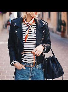 Leather moto jacket striped tee shirt neck scarf french girl style paris str - French Shirt - Ideas of French Shirt - Leather moto jacket striped tee shirt neck scarf french girl style paris street style Dress Like A Parisian, Parisian Style, Parisienne Chic, Trendy Fashion, Girl Fashion, Korean Fashion, Fashion Dresses, Paris Outfits, Girl Outfits