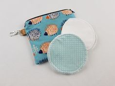 Small zipper pouch with reusable breastfeeding nursing pads set, gifts for her, stocking fillers, unique baby shower gift, echidna print Nappy Wallet, Modern Cloth Nappies, Small Zipper Pouch, Nursing Pads, Echidna, Unique Baby Shower Gifts, Cosmetic Pouch, Waterproof Fabric, Coordinating Fabrics