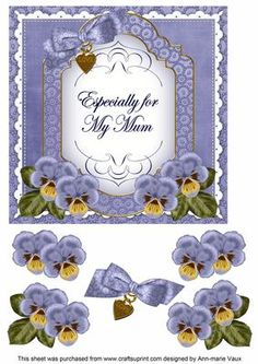 Blue Pansy For my Mum Fancy 7in Decoupage Topper on Craftsuprint - Add To Basket!