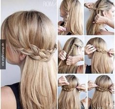Cute Half Up Braid Hairstyles Tutorial: Long Straight Hair Ideas 2015 hair models shinion Romantic Hairstyles, Down Hairstyles, Easy Hairstyles, Straight Hairstyles, Hairstyle Ideas, Party Hairstyle, Hairstyle Braid, Evening Hairstyles, Braided Updo
