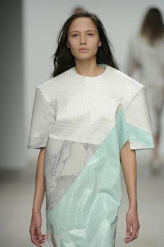 Sculptural Fashion - oversized dress with structured design & contrasting fabric panels with marble print & mixed textures; 3D fashion // Jessie Hands