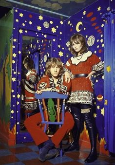 Rufus potts Dawson and Kari Ann Muller modelling outfits in apple boutique 1968