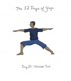 Day ten of the 12 Days of Yoga; How to: Open your hips & shoulders to face your left side. Extend your right arm forward and your left arm back so they are parallel to the floor. Focus your gaze over your right hand.  Benefits: Strengthens the legs, opens the hips and builds confidence