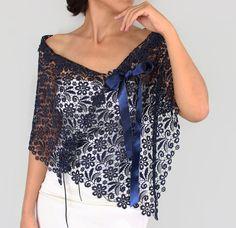 Ultramarine Cotton Lace Stole Dark Navy Blue Shoulder Wrap