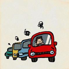 #渋滞 #クルマ #イラスト