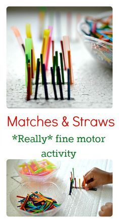 Fine Motor Activity with matches and straws #finemotoractivities from Blog Me Mom