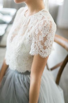 Gorgeous lace short sleeved top and full tulle skirt. Shown here as wedding gown, love the idea for bridesmaids. Alexandra Greco, Sash & Bustle